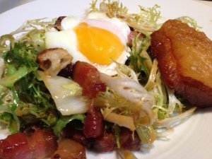 FRISÉE AND BACON LARDONS WITH POACHED EGG