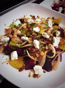 roaste beet-plum-goat cheese-salad