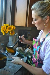 friendsgiving jen pouring soup