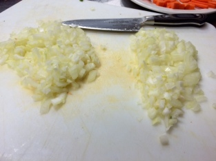 Chef McCoy's diced onions on the right...mine on the left. Can you tell the difference??