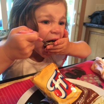 portable picnic julia eating frito pie