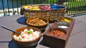 portable picnic walking taco set up