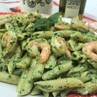 pesto with shrimp