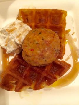 chicken meatball and waffles